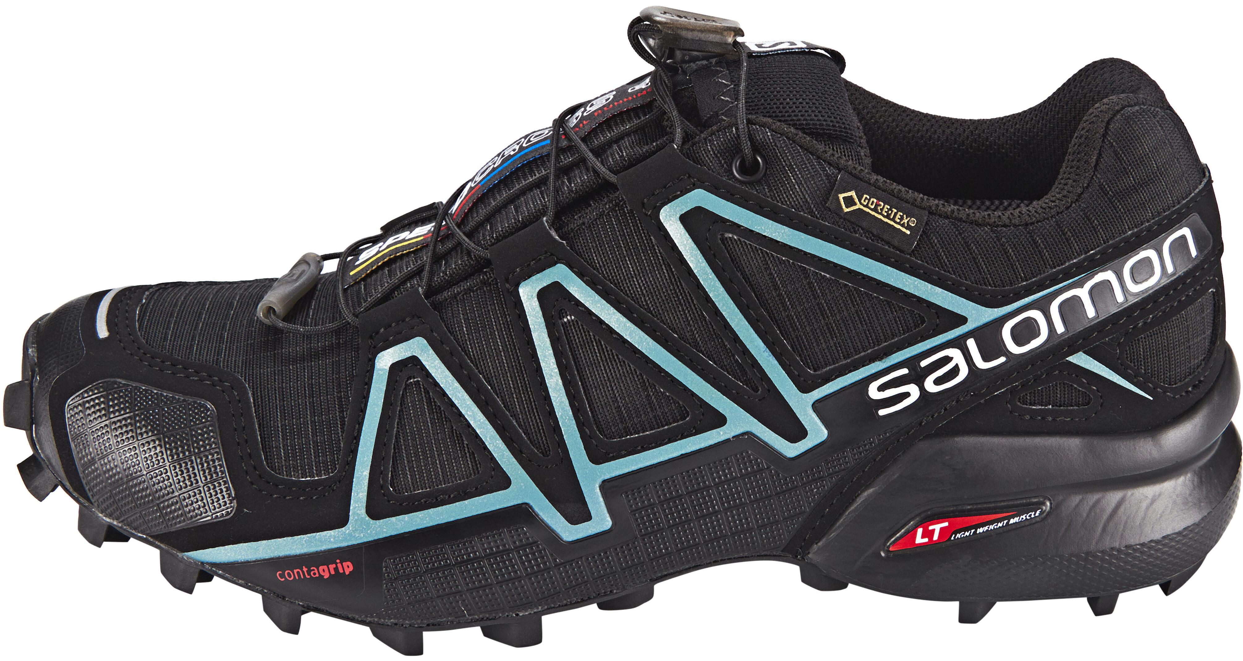 88815768262 Salomon Speedcross 4 GTX Hardloopschoenen Dames, black/black/metallic  bubble blue
